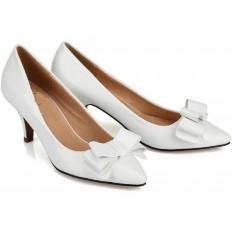 Beyaz Rugan İnce Topuklu Klasik Bayan Ayakkabı