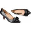 Siyah Rugan İnce Topuklu Klasik Bayan Ayakkabı