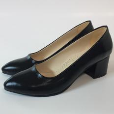 Siyah Kalın Topuklu Bayan Ayakkabı
