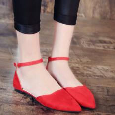 Kırmızı Süet Sivri Burun Bayan Babet Ayakkabı 1002