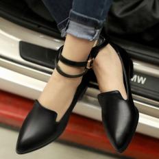 Siyah Deri Sivri Burun Bayan Babet Ayakkabı 1023