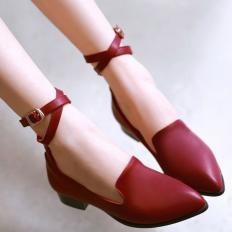 Kırmızı Deri Sivri Burun Bayan Babet Ayakkabı 1023