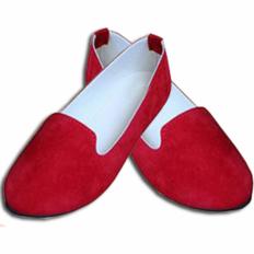 Kırmızı Süet Yuvarlak Burun Bayan Babet Ayakkabı 2008