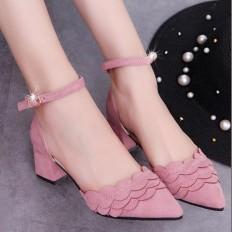 Pembe Süet Kısa Kalın Topuklu Bayan Ayakkabı 5003