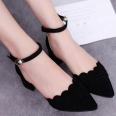 Siyah Süet Kısa Kalın Topuklu Bayan Ayakkabı 5003