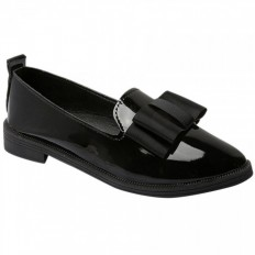 Siyah Rugan Sivri Burun Bayan Babet Ayakkabı 1029