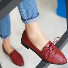 Kırmızı Deri Sivri Burun Bayan Babet Ayakkabı 1030