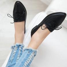 Siyah Deri Sivri Burun Bayan Babet Ayakkabı 1030