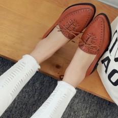 Taba Deri Sivri Burun Bayan Babet Ayakkabı 1030