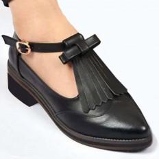Siyah Deri Sivri Burun Bayan Babet Ayakkabı 1031