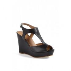 Beyaz Dolgu Topuk Bayan Sandalet Ayakkabı 8049