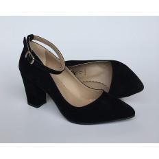 Bilekten Bağlı Siyah Süet Bayan Ayakkabı 4006