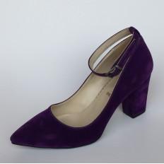 Bilekten Bağlı Mor Süet Bayan Ayakkabı 4006