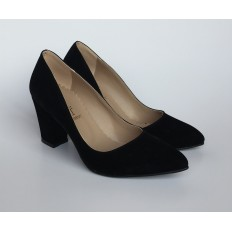 Kalın Topuklu Siyah Süet Stiletto 4007