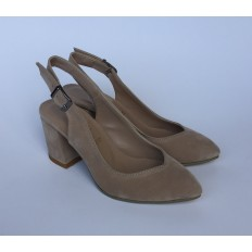 Kalın Topuklu Bej Süet Bayan Ayakkabı 4005