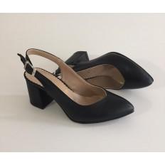 Siyah Bayan Kalın Topuklu Ayakkabı 4005