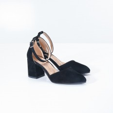 Bilekten Bağlı Siyah Süet Bayan Ayakkabı 4010