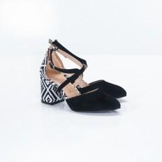 Topuklu Siyah Bayan Sandalet 4044