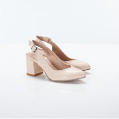 Kalın Topuklu Bej Rengi Bayan Ayakkabı 4005