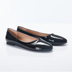 Siyah Rugan Yuvarlak Burun Bayan Babet Ayakkabı 2001