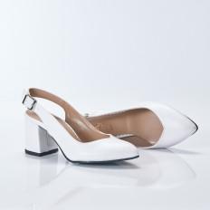 Kalın Topuklu Beyaz Bayan Ayakkabı 4005