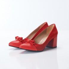 Fiyonklu Kırmızı Süet Stiletto 9916