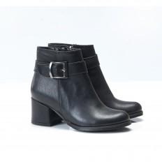 Siyah Kalın Alçak Topuklu Bayan Bot 7006