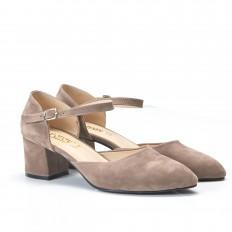 Bej Süet Topuklu Büyük Numara Bayan ayakkabı 725