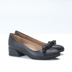 Fiyonklu Siyah Bayan Babet Ayakkabı 4545