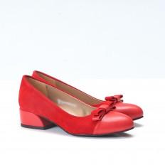 Fiyonklu Kırmızı Süet Babet Ayakkab 4545