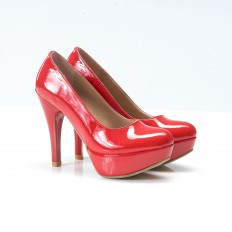 Kırmızı Rugan Platform Topuk Ayakkabı 3008