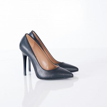 Siyah Deri Stiletto Ayakkabı 4001