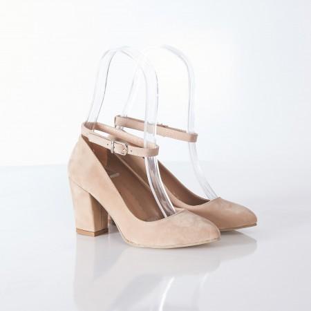 Bilekten Bağlı Bej Süet Bayan Ayakkabı 4006