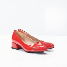 Kırmızı Rugan Bayan Babet Ayakkabı 4040