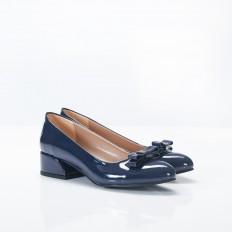 Fiyonklu Lacivert Rugan Bayan Babet Ayakkabı 4048