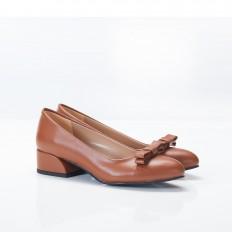Fiyonklu Taba Bayan Babet Ayakkabı 4048
