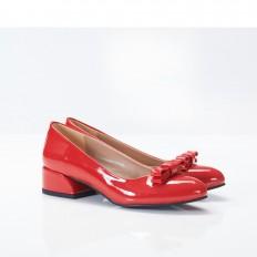 Fiyonklu Kırmızı Rugan Bayan Babet Ayakkabı 4048