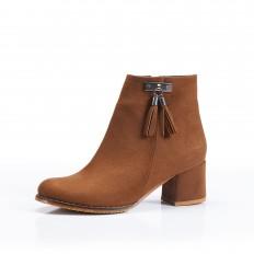Kahverengi Süet Kalın Alçak Topuklu Bayan Bot 7005