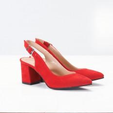 Kalın Topuklu Kırmızı Süet Bayan Ayakkabı 4005