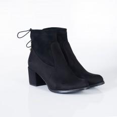 Siyah Süet Kalın Alçak Topuklu Bayan Bot 7004