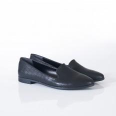 Siyah Krokodil Bayan Babet Ayakkabı 9090