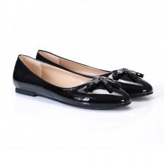 Siyah Rugan Yuvarlak Burun Bayan Babet Ayakkabı 2002