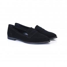 Siyah Süet Bayan Babet Ayakkabı 9092