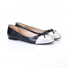 Siyah Deri Yuvarlak Burun Bayan Babet Ayakkabı 2022