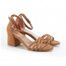 Bilekten Bağlı Taba Süet Sandalet 5051