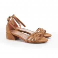 Alçak Topuklu Taba Süet Sandalet 5052