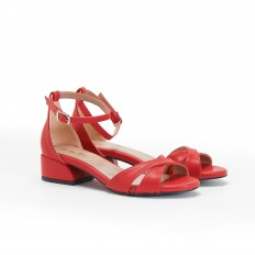 Kısa Topuklu Kırmızı Kadın Sandalet 5059