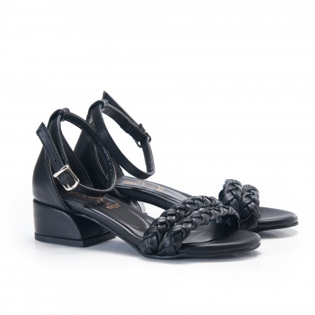 Örgülü Siyah  Kadın Sandalet 5062