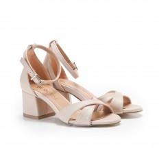Ten Rengi Topuklu  Kadın Sandalet 6059