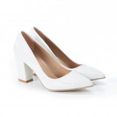 Kalın Topuklu Simli Beyaz Stiletto 4007